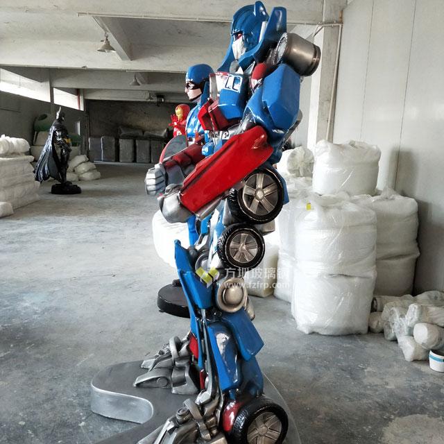 玻璃钢变形机器人雕塑亮相海南动漫城