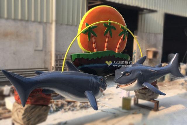 海洋风格玻璃钢鲨鱼创意门头装饰造型制作