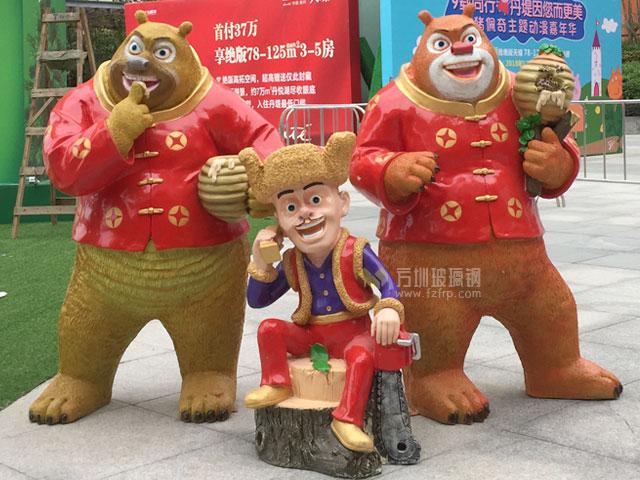 惠州商业街玻璃钢动漫卡通雕塑组合高度仿真