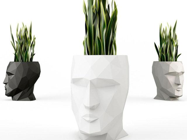 创意人头人脸艺术造型切面花盆设计效果图