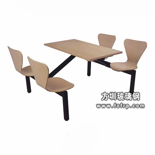 b065室内整体玻璃钢四人曲木餐桌椅