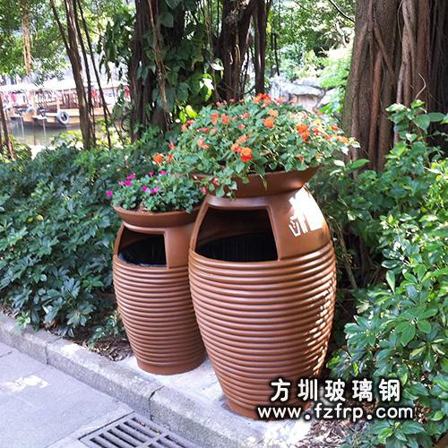 A90玻璃钢景区花盆式垃圾桶