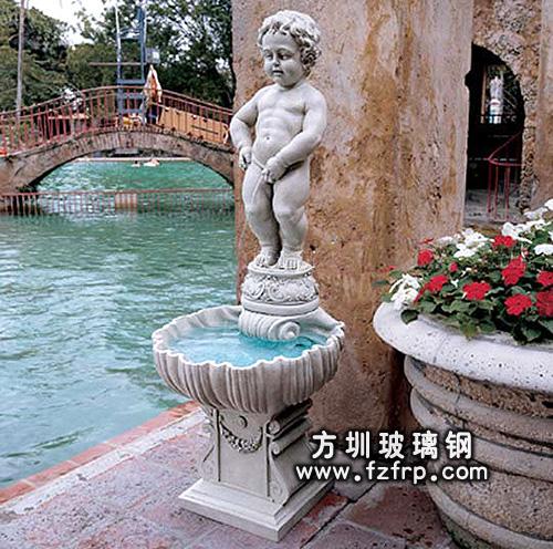 HP176玻璃钢人物喷泉雕塑