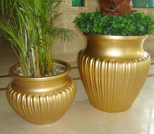 贵州玻璃钢金色花钵