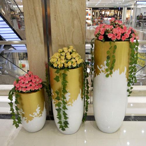 国外商场玻璃钢美陈花盆