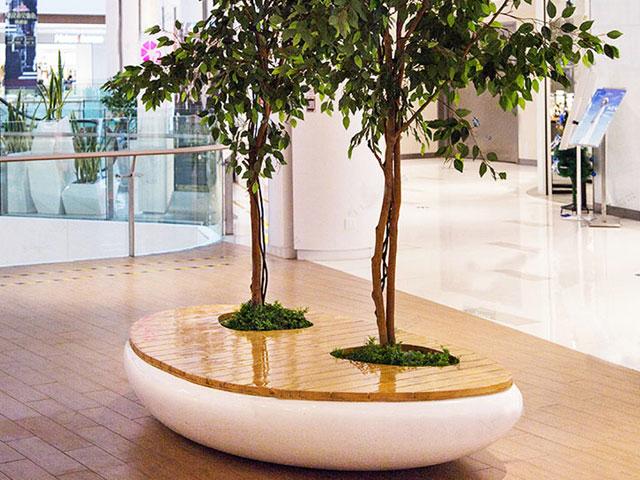 黑龙江玻璃钢实木座椅花盆