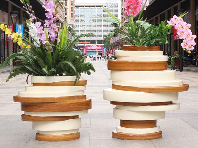 台湾户外玻璃钢创意景观花盆