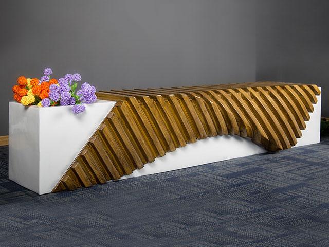 甘肃玻璃钢实木切片休闲椅花盆
