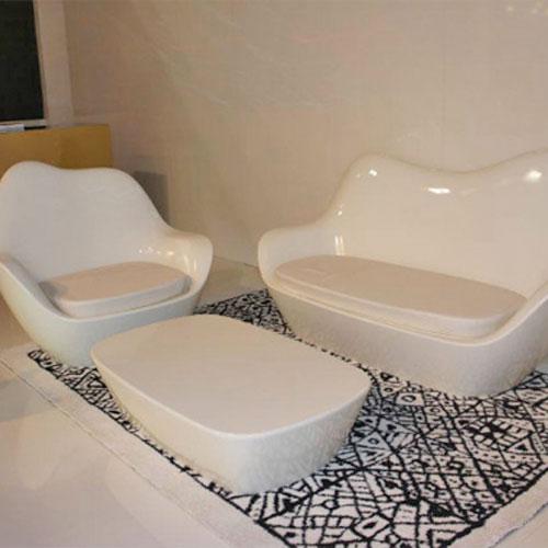 广东家居玻璃钢沙发茶几组合家具