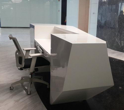 安徽玻璃钢菱形办公前台家具