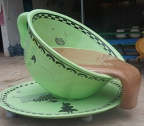 陕西玻璃钢咖啡杯造型坐凳