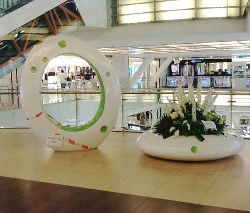 陕西玻璃钢艺术休闲椅组合花盆