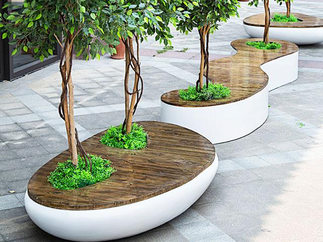 青海商业街玻璃钢实木休闲椅带花盆