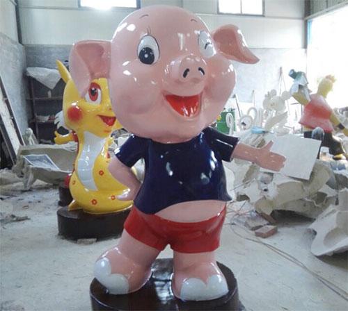 安徽玻璃钢卡通生肖猪雕塑