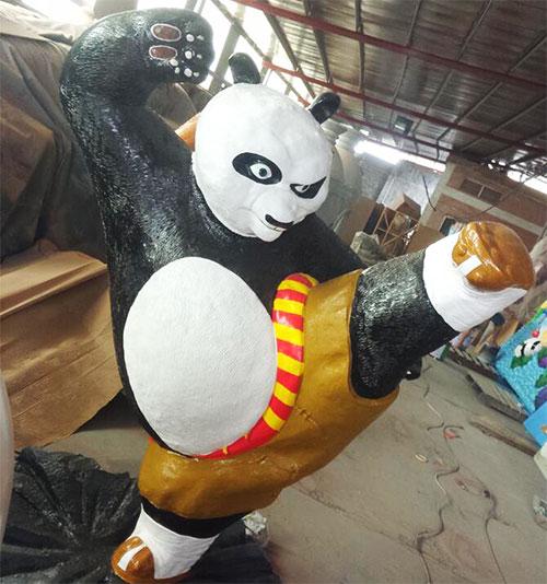 湖北玻璃钢卡通熊猫雕塑